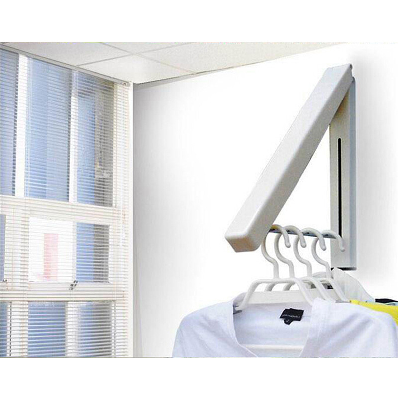 Wall Hanger Retractable Indoor Clothes Hanger Magical Folding Kitchen Drying Stand Rack Hanging Holder Organizer Stainless Steel