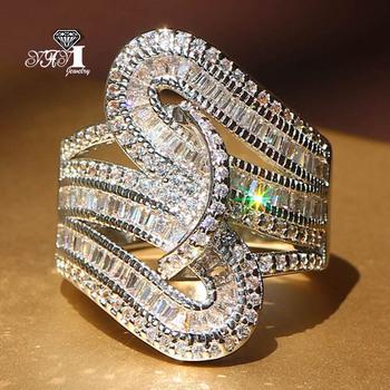 YaYI Biżuteria Fashion Princess Cut 5 6 CT biały cyrkon srebrny pierścionki zaręczynowe pierścienie ślubne pierścionki party tanie i dobre opinie Moda Rings Trendy Geometryczne HR486 Engagement 20mm Wedding Bands yayi jewelry Miedzi Kobiet Prong Setting Cubic Zirconia