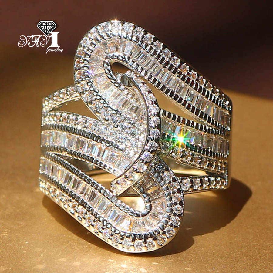 Yayi jóias moda princesa corte 5.6ct zircão branco prata cor anéis de noivado anéis de casamento anéis de festa