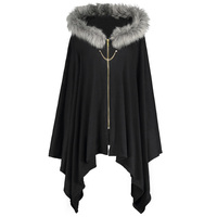 LANGSTAR 2017 Autumn Winter Warm Plus Size Coat Women Asymmetric Faux Fur Panel Cape Hooded Wide