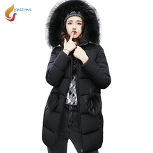 JQNZHNL Women Big Fur Hooded Thicken Down Parkas 2017 Winter Medium Long Down Cotton Coat Jackets Loose Casual Cotton Coats L880