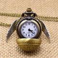 Свободное Падение Доставка Гарри Поттер Элегантный Золотой Снитч Кварц Брелок Карманные Часы С Ожерелье Свитер Цепи