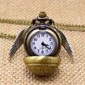 Envío de La Gota Libre Harry Potter Snitch Fob reloj de Bolsillo Reloj de Cuarzo de Oro Elegante Con Collar de Cadena Suéter