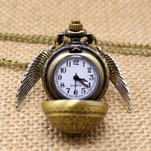 Gratis Drop Shipping Elegant Harry Potter Golden Snitch Quartz Fob lommeur med sweater halskæde kæde