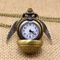 Free Drop Shipping Harry Potter Elegant Golden Snitch Quartz Fob Pocket Watch With Sweater Necklace Chain