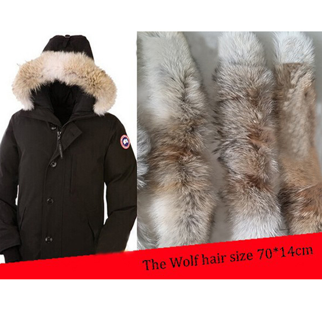 100% Real Fur Wolf Collar Winter Warm Natural Fur Collar for Men Coat Jacket Fur Neck Collar Real Fur Scarf 70 cm * 14 cm S#06