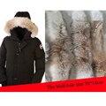 100% Real de Piel de Lobo Collar Natural de Invierno Cálido Cuello de Piel de Los Hombres Abrigo chaqueta de Cuello de Piel Bufanda de la Piel Real 70 cm * 14 cm S #06
