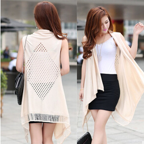 Europe And America 2015 Summer Womens Casual Loose V-neck Sleeveless Shawl Solid Color Cotton Long Thin Sweater ZL0169