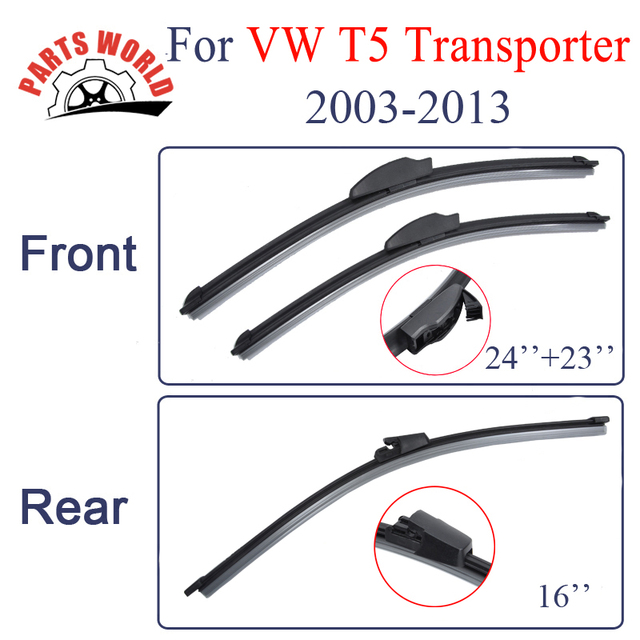Dianteiro E Traseiro Wiper Blade Para VW Transporter T5 2003-2013, Brisas Limpador Acessórios Do Carro de Borracha Natural limpo a brisa