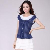Summer Tops Fashion Loose Polka Dot Chiffon Blouses Women Clothing Sweet Short Sleeve Shirt 4XL Plus