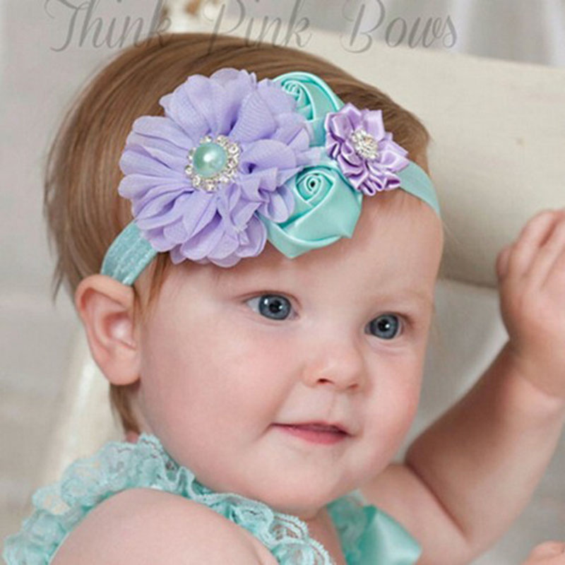 JRFSD A New Cute Headband Newborn Flower Hair Bands Kids Flower Crown Hair Accessories for Girls  H007 jrfsd 1pcs hot sell girls headband with 3 or 6 flower pearl diamond hair bands headbands for girl elastic kids hair accessories