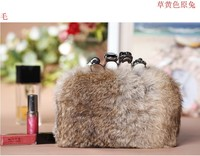 Skull Rabbit Fur Bag Women S Genuine Leather Handbags Small Chain Bag Day Clutch Bag 5