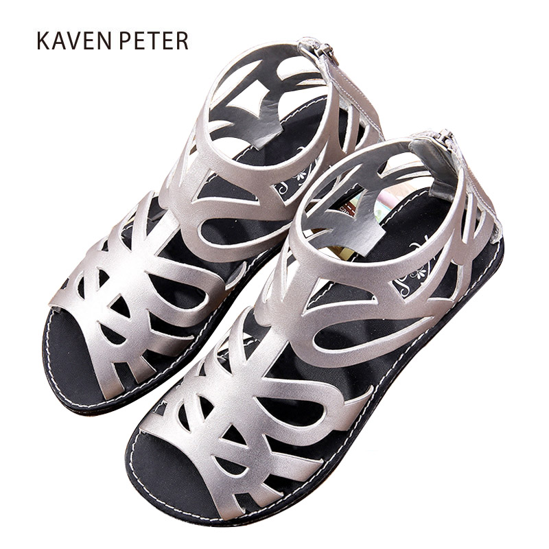 2018 summer gril sandals hollow PU leather female roman shoes children gladiator boot sandals kids orthopedic shoes peep toe new 2018 summer women shoes sandals peep toe flat open toe pu leather roman female casual sandals shoes plus size