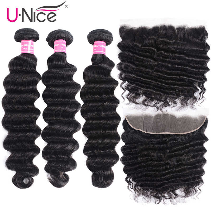 UNice Hair Loose Deep Wave 3/4 Bundles With Frontal Remy Human Hair Weave Bundles With Frontal Brazilian 3 Bundles With Frontal