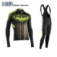 2017 NW Winter Thermal Fleece Cycling Jersey Long Sleeve Jerseys Cycling Bib Pants Set Bike Cycling