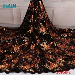 Image 2 - Бархатная кружевная ткань для платьев, новейшая нигерийская французская фатиновая кружевная ткань с пайетками, Высококачественная африканская кружевная ткань с блестками, для платьев, для вечеринок, на лето, 2019