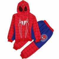 3-8Y Spiderman zestawy ubrań dla chłopców bawełniany strój sportowy moda dziecięca fajny Spider-Man przebranie na karnawał dzieci dres ubrania