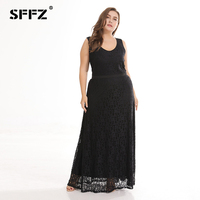 SFFZ 2018 Summer New Women's Dress Plus Size Long Loose Sleeveless Lace Elegant Fashion Casual Party Beach Maxi Dresses Black