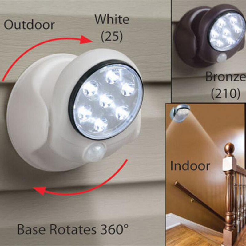 hot 7 leds draadloze bewegingssensor licht batterij wandlamp 360 graden rotable wit led lampen automatische sensor binnenverlichting in hot 7 leds draadloze