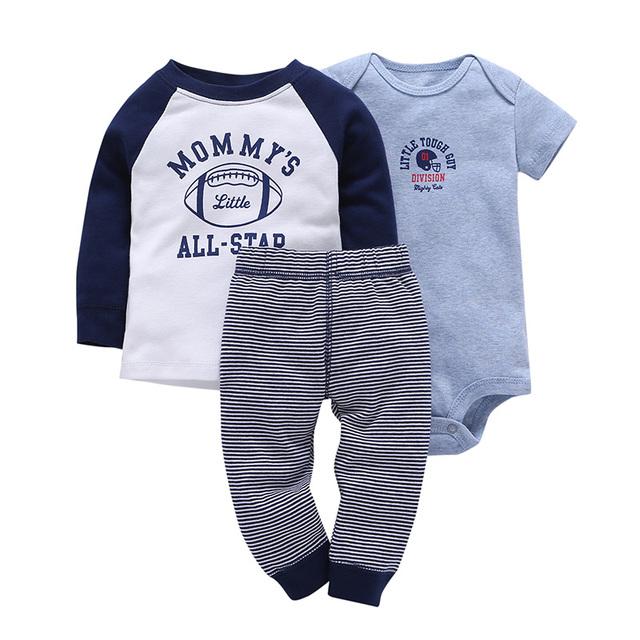 New Baby Boy 3 Pieces  Long Sleeve Short Sleeve Bodysuit and Pants set Body Suit Infant soft Bebes Clothing set