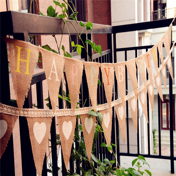 5pcs Lot Decoration Banner Happy Birthday Bunting Rustic Country Shower Christening Party Jute