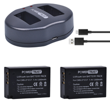 2X LP-E17 LPE17 LP E17 Camera Batteries + USB Dual Charger for Canon EOS M3 M5 M6 Rebel T6i T6s T7i 750D 760D 8000D Kiss X8i