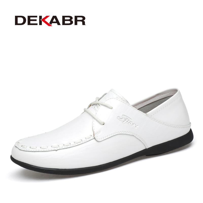 DEKABR Mens Casual Shoes Spring Business Lace Up Split Leather Men dress Wedding Party Warm Quality Men Shoes Plus Size 36~47 patent leather men s business pointed toe shoes men oxfords lace up men wedding shoes dress shoe plus size 47 48