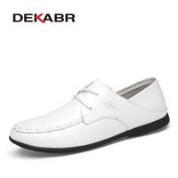 DEKABR Mens Casual Shoes Spring Business Lace Up Split Leather Men Dress Wedding Party Warm Quality