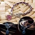 Atlantis europeia Couro Trançado pulseiras & bangles Brilham No Escuro Bola de Cristal Luminoso Pingente pulseiras para mulheres e homens