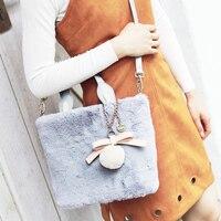 Neue Frauen Herbst Und Winter Neue Plüsch Umhängetasche Japanischen Stil Weichem Plüsch Tasche Kawaii Joker Einfache Freizeit Umhängetasche