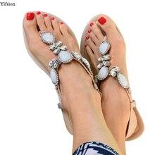 Olomm New Women Flat With Gladiator Sandals Sexy Rhinestone Flip Flops Open Toe Beige Beach Shoes US Size 5-10.5