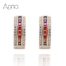 A & N Hueco Corazón Austria Cristal Multicolor pendientes De Aro de Piedra Con Plata de Ley 925 y el platino Plateado Pendiente De Navidad