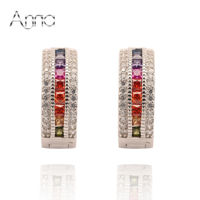 A&N Hollow Heart Austria Crystal Multicolor Stone Hoop Earrings With 925 Sterling Silver and platinum Plated Christmas Earring
