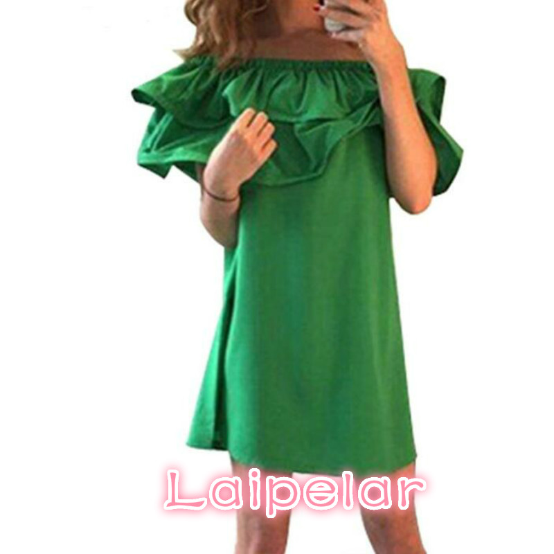 Sexy Women Dress Ruffle Summer Mini Dresses Sleeve Off Shoulder Fashion Woman Beach Party Chiffon Dress Vestidos Laipelar in Dresses from Women 39 s Clothing