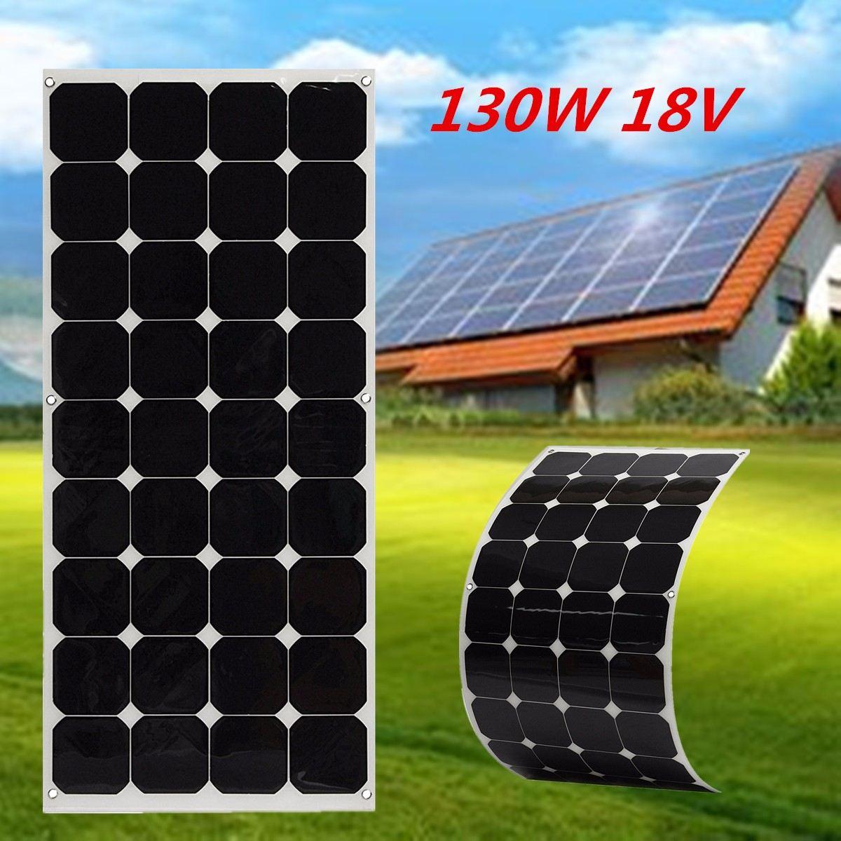 EL-05 130W 18V Semi Flexible High Conversion Efficiency Solar Panel Waterproof Monocrystalline Solar Panel + 1.5m Cable