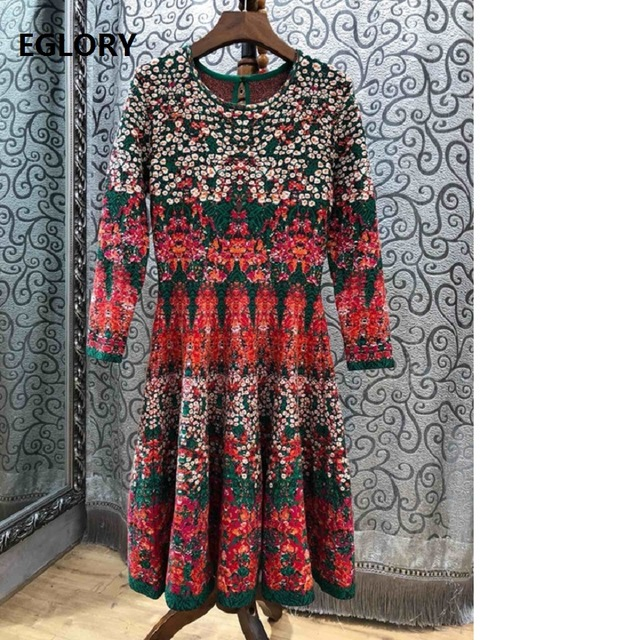 Robes Automne Femmes 2018 Knitting Motif Vintage A Pull Tricoté Hiver Casual ligne Long O Jumper Robe cou H0ERnwxY
