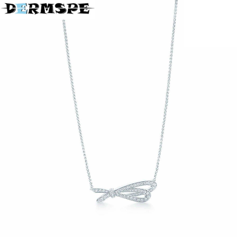 купить DERMSPE Fashion And Simplicity Silver Bow Pendant Necklace TIFF 925 Sterling Silver Nature Fashion Jewelry Women's Gifts