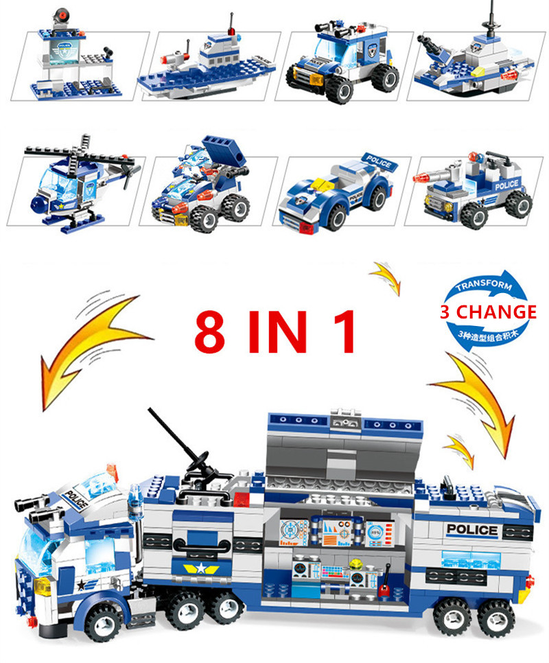 762Pcs City Police Robot Aircraft Car Model Building Blocks Set SWAT Playmobil Creator Assembly Educational Toys For Children