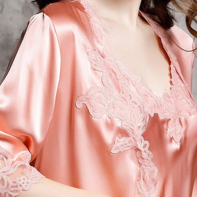 P9939 nouvelle mode 100% soie peignoir femme printemps et peignoir d'été luxueux vêtements de loisirs ensembles de chemise de nuit - 4
