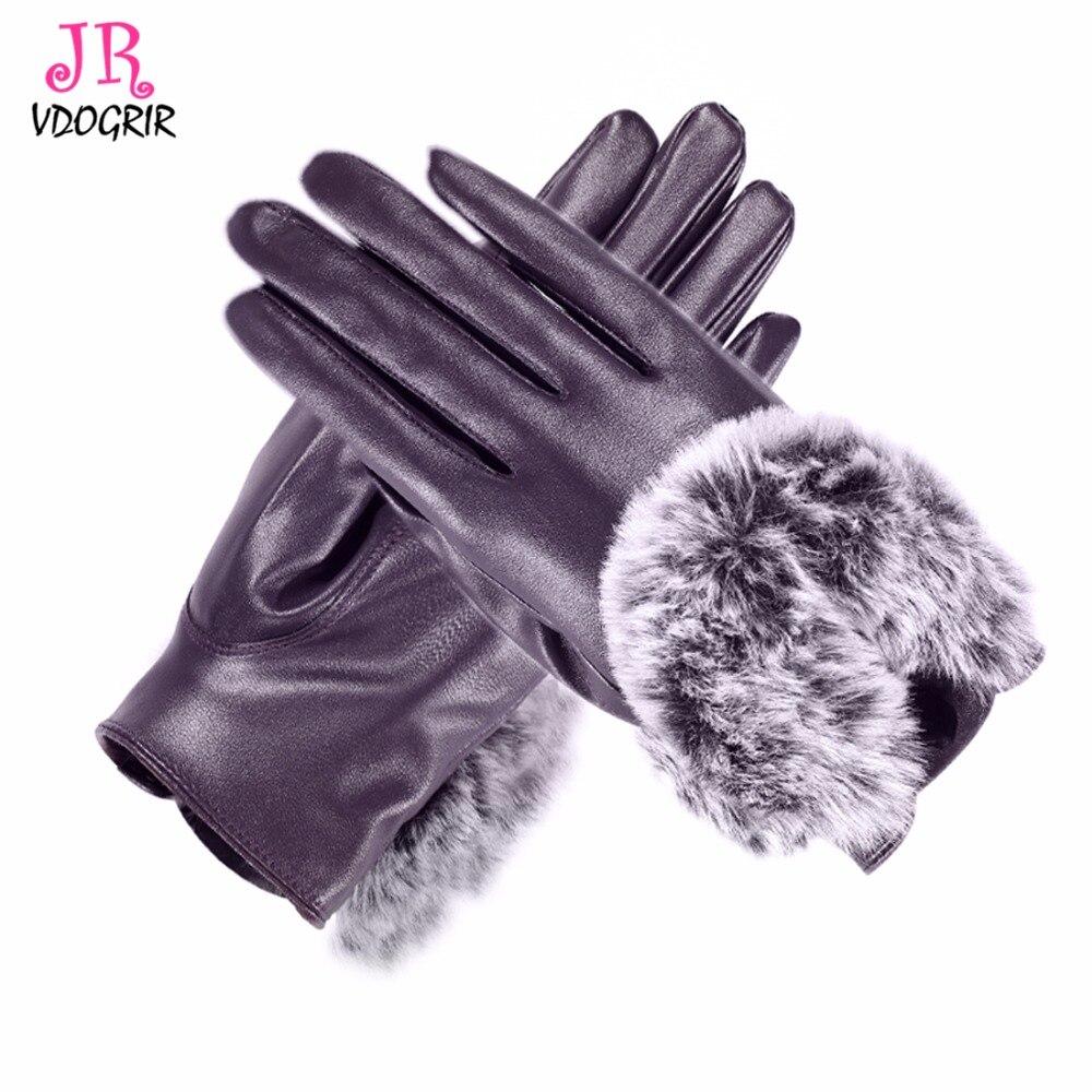 Womens leather gloves reviews - Purpule Genuine Leather Gloves Rabbit Fur Ball For Winter Gloves Thick Fleece Lined Women Gloves Female Gloves