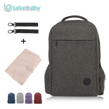 Lekebaby Fashion Mom Stylish Dad Diaper Backpack Baby Care Double-layer Travel Bag for Baby Stroller with Changing Pad