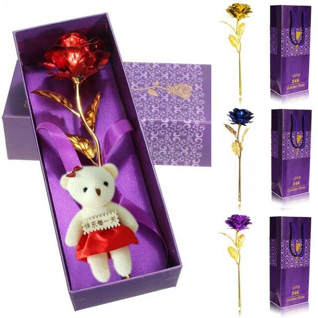 Flores secas 24 K Folha Banhado A Ouro Rosa Subiu Decoração Do Casamento Presente do Amante do Dia Dos Namorados Flor Rosa Artificial só