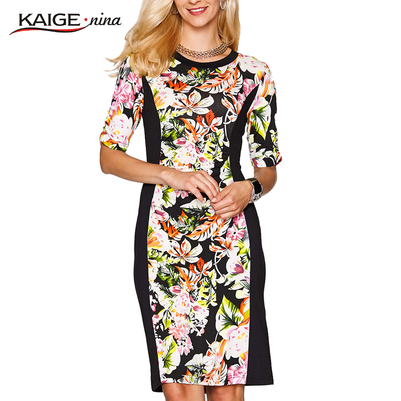 KaigeNina New Fashion Hot Sale Women Flower Color Dresses Tight Knitted Clothing O-Neck Lady Dress1180