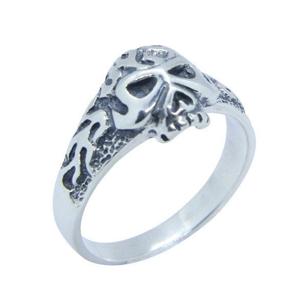 Real 925 Silver Mini Flame Skull Ring Top Quality Fashion Ladies Skull Biker Ring Rings    - AliExpress