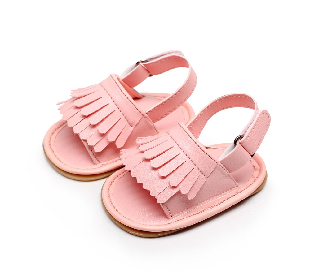 2020 HONGTEYA Hot Sale Summer Infant Sandals Child Double Tassel Rubber Sole Baby Shoes Muticolor Pu Leather Baby Moccasins