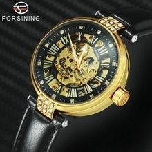b26c9df8496d FORSINING 2019 relojes elegantes de moda para mujer Auto mecánico diamante  decoración esqueleto Dial marca superior reloj de pul.