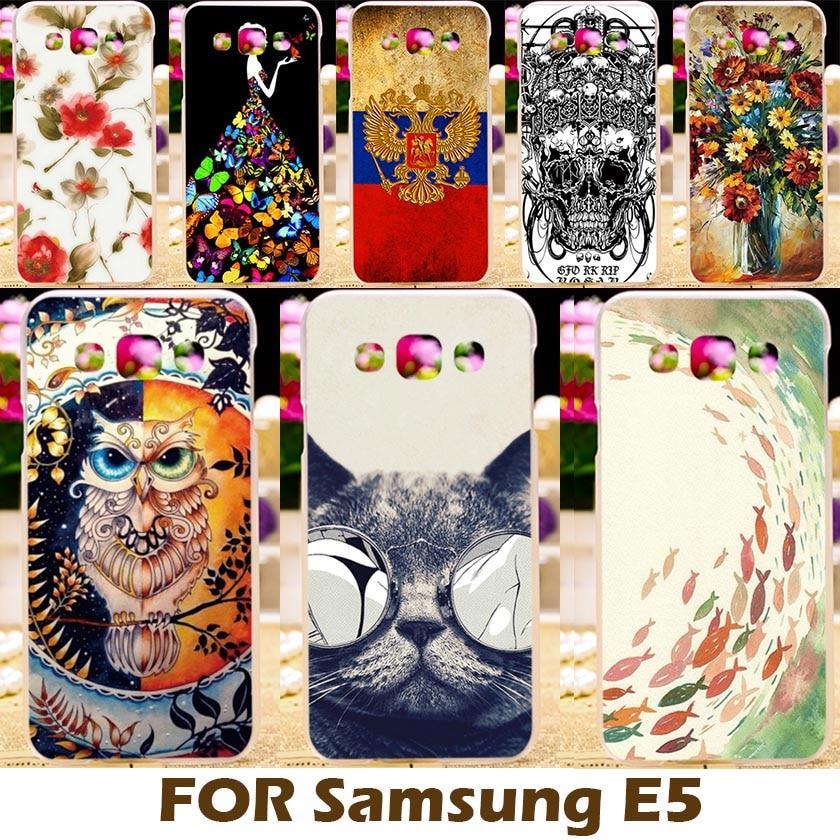 Galleria fotografica AKABEILA Cassa Del Telefono Per Samsung Galaxy E5 SM-E500F 5.0 pollice E5000 E500 E500H E500F SM-E500FDS Telefono Coperture Borsette Design Fresco