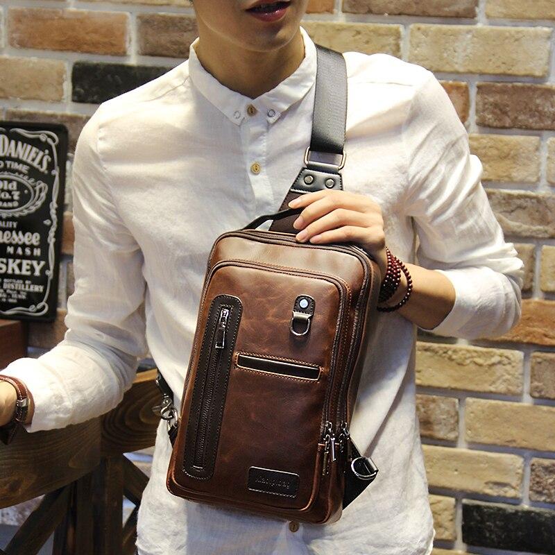 9489789c01 Soft Leather Men Messenger Bags Patchwork Men Chest Pack Cross Body Sling  Single Shoulder Bag Daypacks
