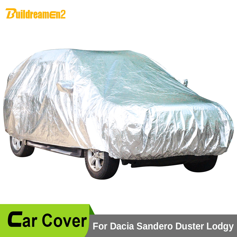 Buildreamen2 Waterproof Car Cover Outdoor Sun Anti-UV Snow Rain Hail Dust Protection Car Covers For Dacia Sandero Duster Lodgy buildreamen2 car cover waterproof suv anti uv sun shield snow hail rain dust protective cover for gmc terrain acadia envoy yukon