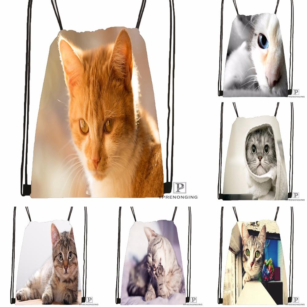 Custom Blue Eye Honeyed Mouth Cat Drawstring Backpack Bag Cute Daypack Kids Satchel (Black Back) 31x40cm#180531-04-36
